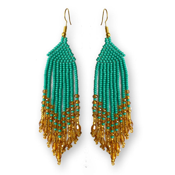 Tribal Earring Medium Turquoise Gold