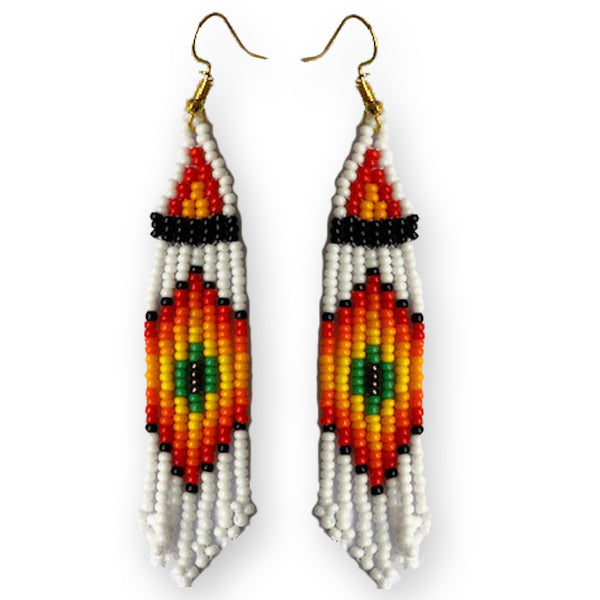 Tribal Earring Small White