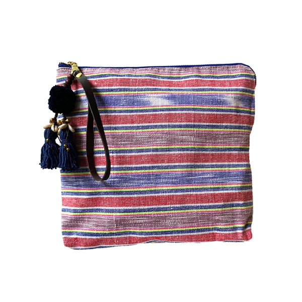 Samui Neon Zip Clutch Puka Tassel Red/Brown