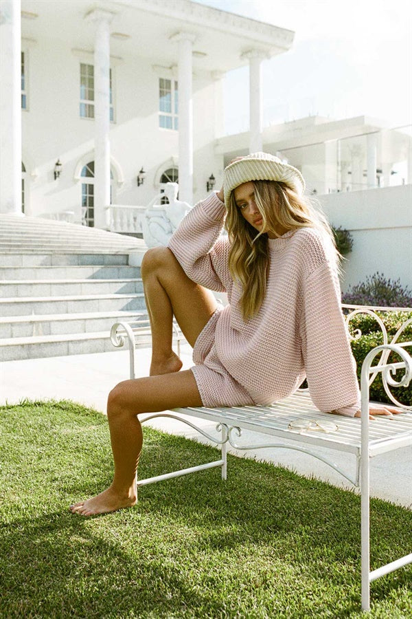 Noelle Knit Shorts - Pink