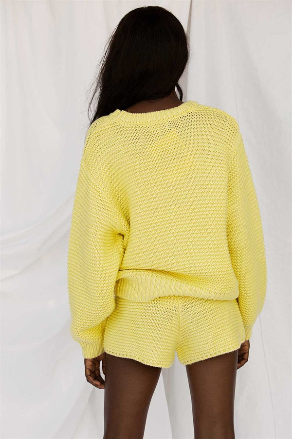 Noelle Knit Shorts - Lemon
