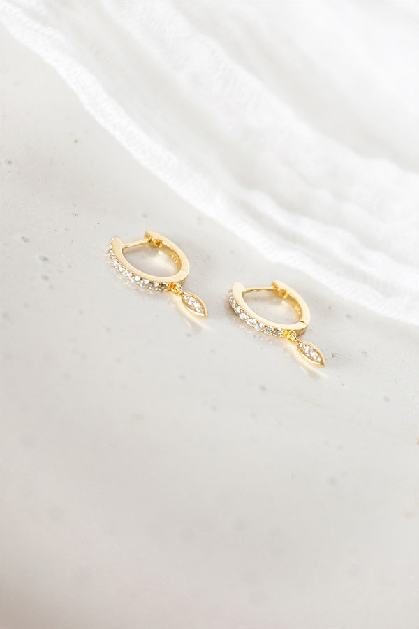 18K Gem Drop Earrings