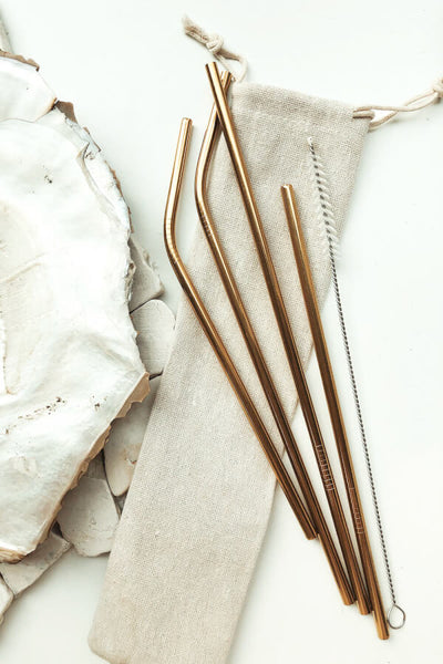 Eco Straw Set - Gold