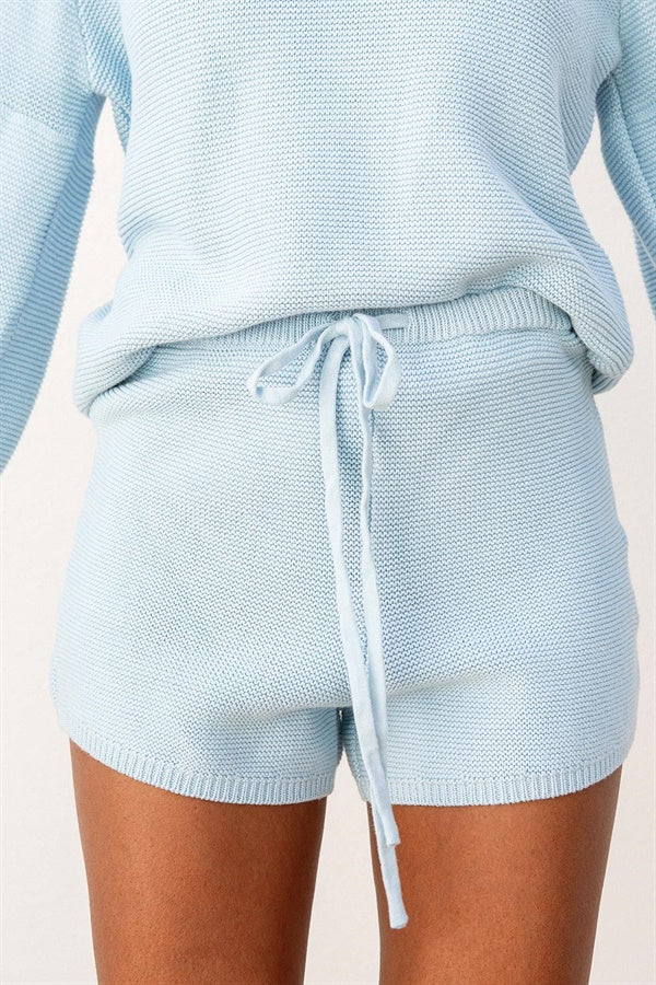 SAMPLE-Azure Knit Shorts