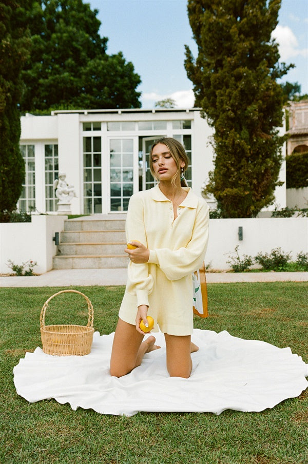 Jayla Knit Playsuit - Lemon