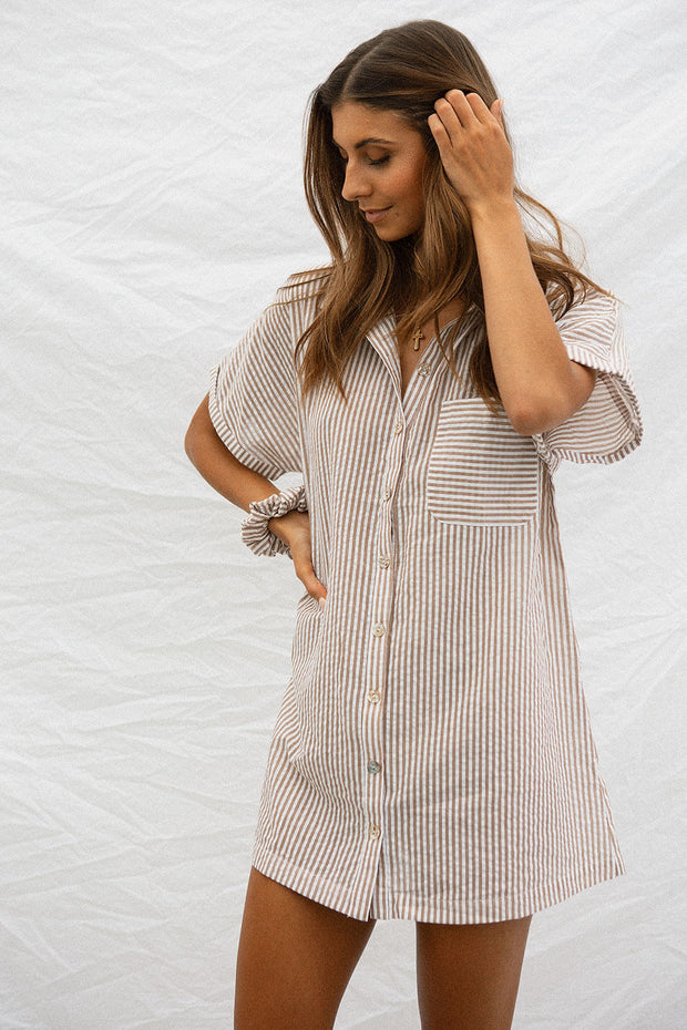 Cosy Shirt Dress - Tan