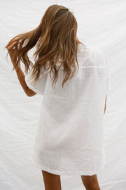 SAMPLE-Cosy Shirt Dress - White