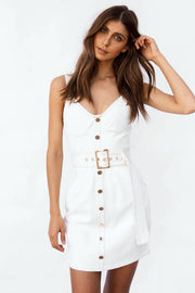 SAMPLE-Farren Denim Dress - Tan Stitch