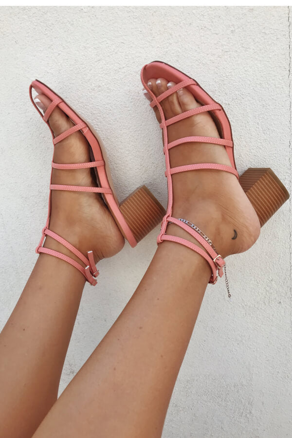 Ladder Block Heels - Coral