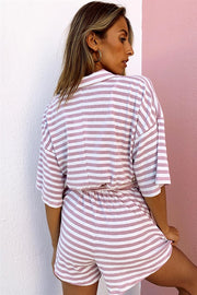 SAMPLE-Comfy Stripe Playsuit - Mauve