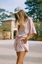 Harley Towelling Playsuit - Pink