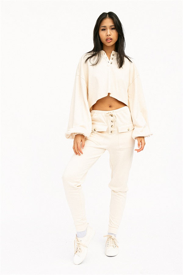 SAMPLE-Oriana Lounge Top - Cream