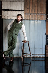 Fishtail Trousers Green Herringbone