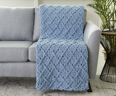 Diamond Lattice Blanket in Bernat Alize Blanket-EZ - Downloadable PDF Free-Bernat-superbulky