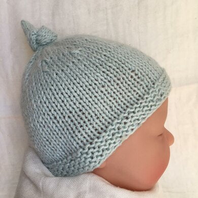 Tegan Baby Hat with Top Knot Knitting pattern by Julie Taylor-Independent Designer-superbulky
