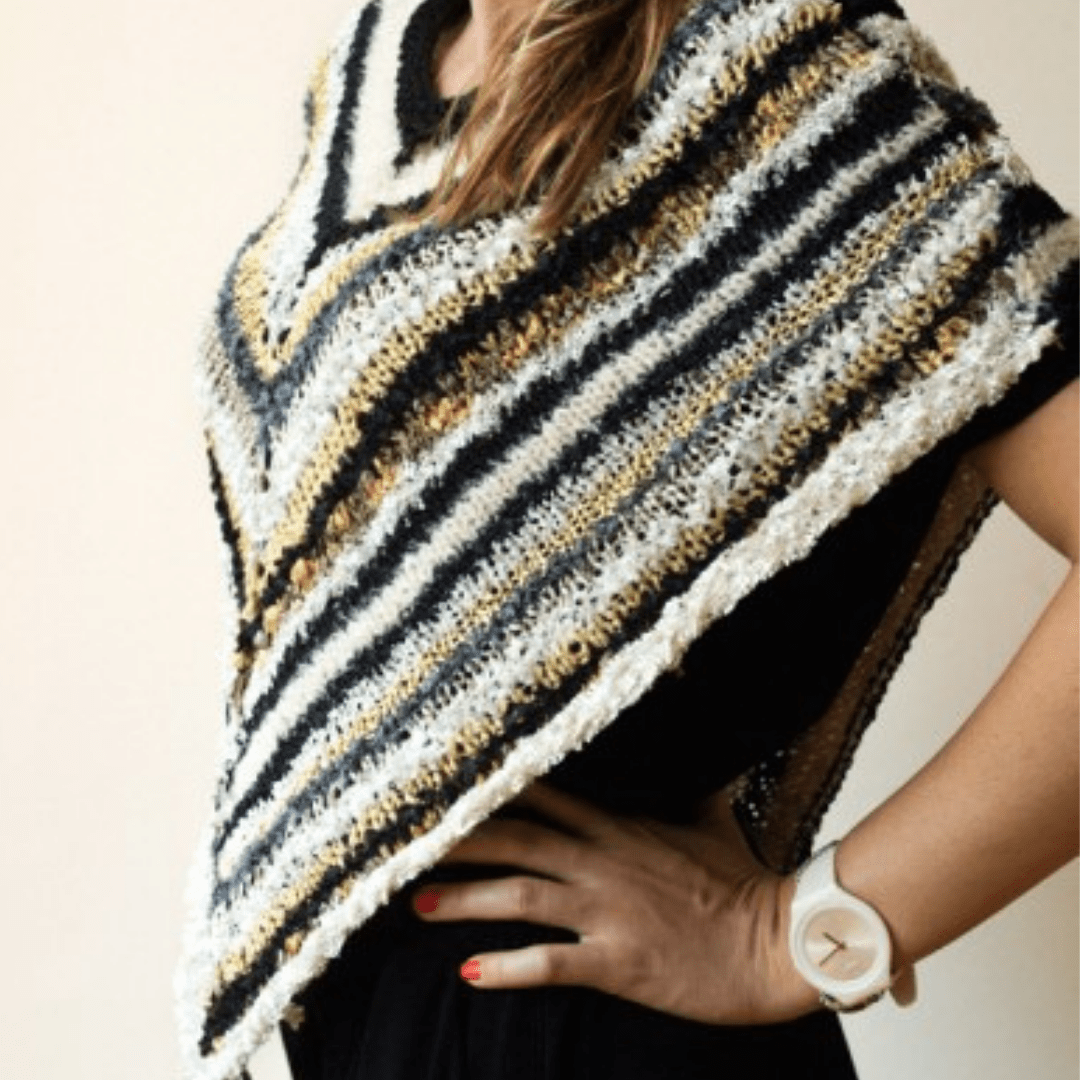 Prato Striped Poncho Knitting Kit-Darn Good Yarn-superbulky