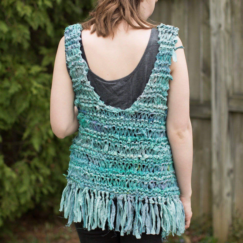 Silk Hippie Fringe Vest Knit Kit-Darn Good Yarn-superbulky