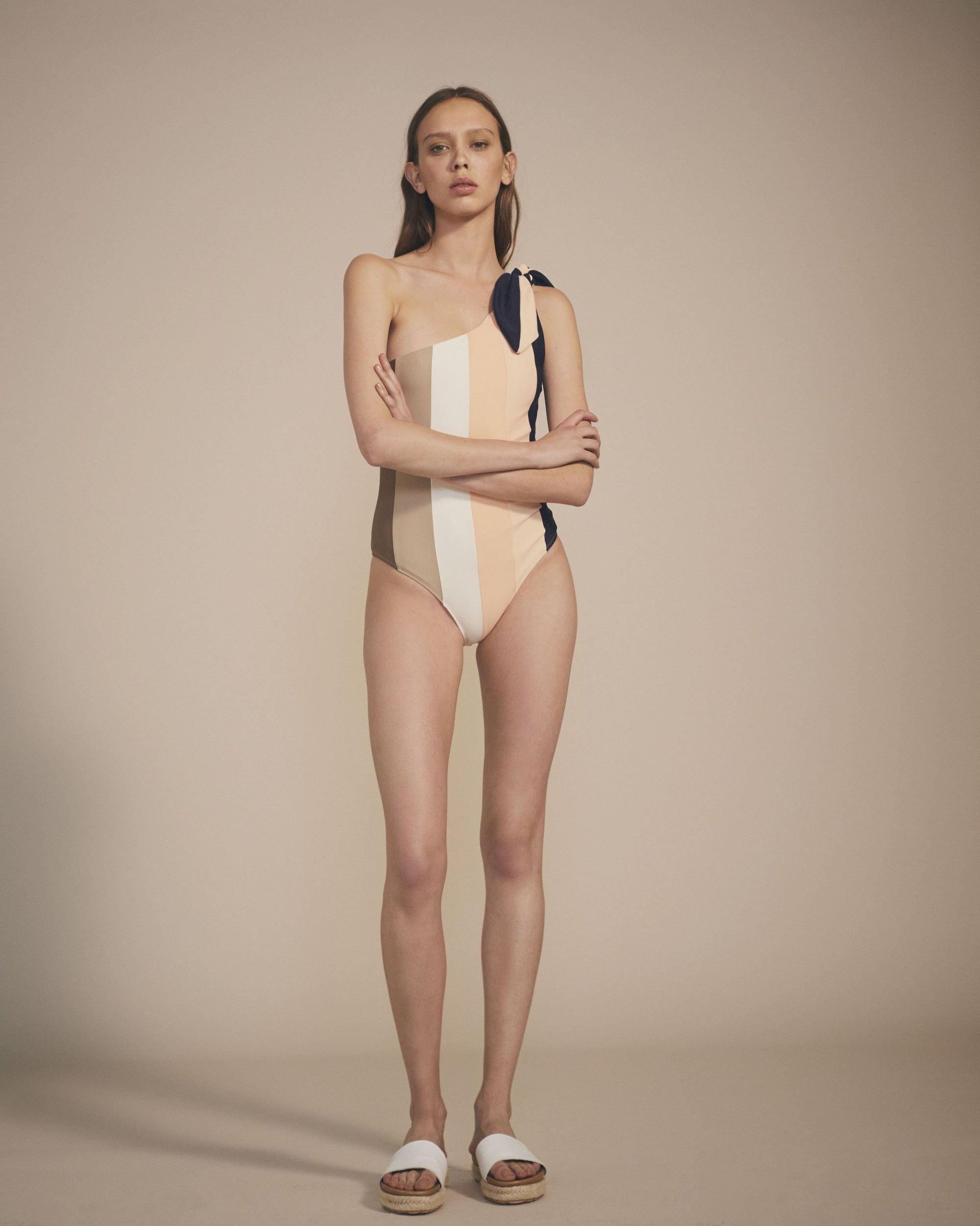 Paper London ethical swimwear - Rainbow Swimsuit Tonal Stripe-paperlondon-superbulky