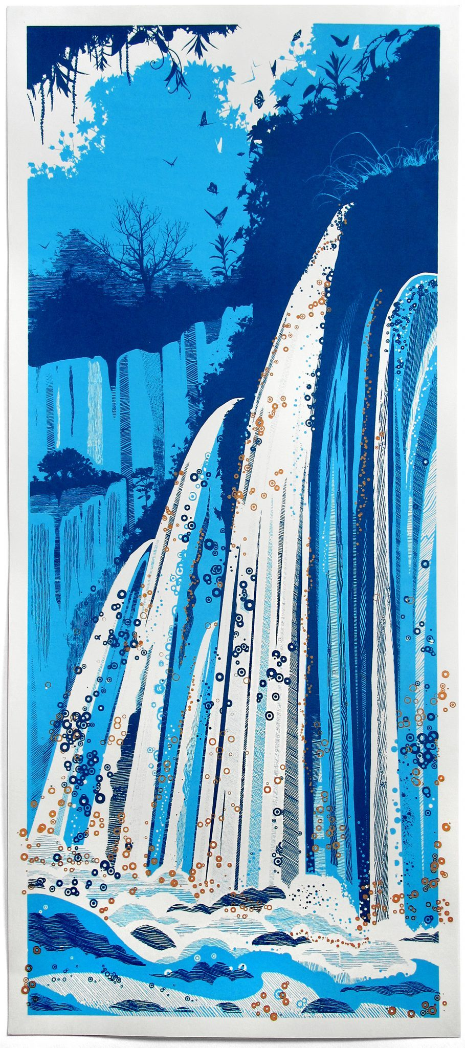 Waterfall screen print - Chris Keegan