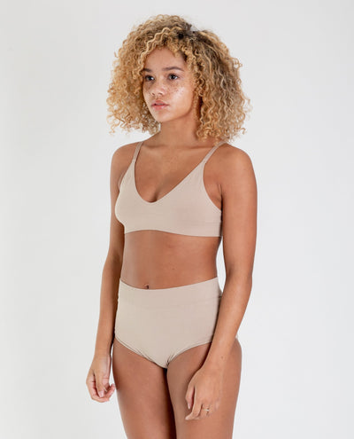 ENDIJA Organic Cotton High Waisted Knickers In Nude-beaumontorganic-superbulky