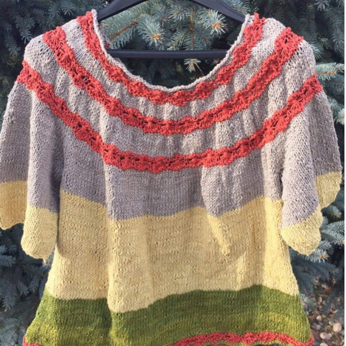 Flowers-in-a-Row Sweater Knitting Kit-Darn Good Yarn-superbulky