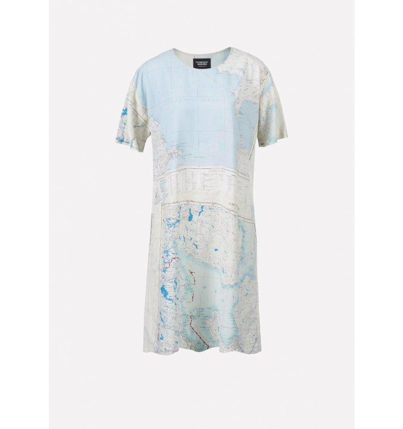 REMADE Silk Map T-Shirt Dress-Raeburn Design-superbulky