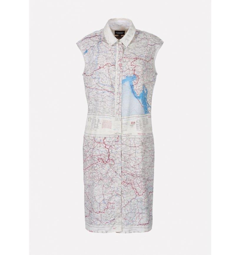 REMADE Silk Map Shirt Dress-Raeburn Design-superbulky