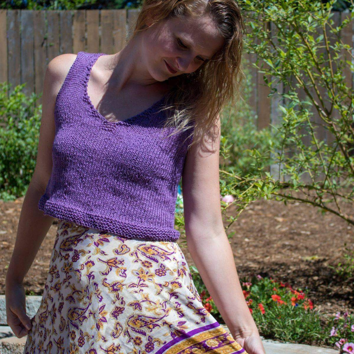 V Neck Crop Top Knitting Pattern-Darn Good Yarn-superbulky
