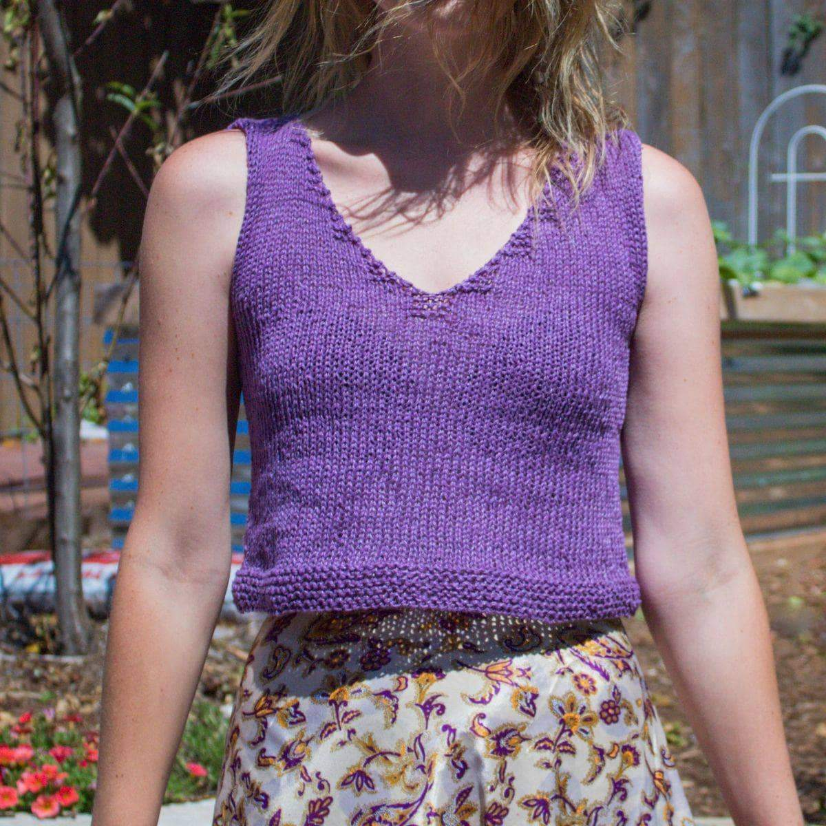 V Neck Crop Top Knitting Kit-Darn Good Yarn-superbulky