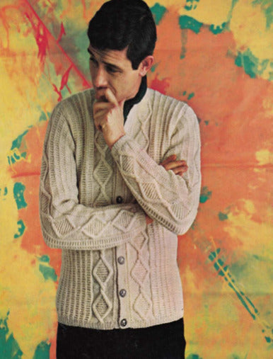 Free Aran Knitting Patterns - Mens Vintage Cable Knit Cardigan-Brand:-superbulky