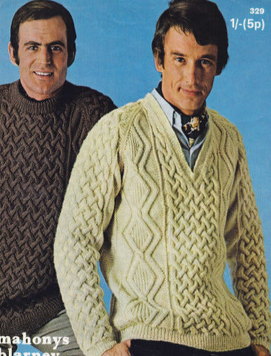 Free Aran Knitting Patterns - Men's Vintage Crew V Neck Sweaters-Brand:-superbulky