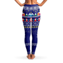 Load image into Gallery viewer, Blue Christmas Night Knit-Print Christmas Leggings