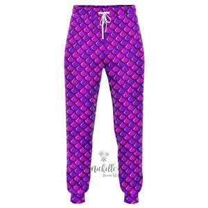 Royal Purple Mermaid Scale Athletic Joggers