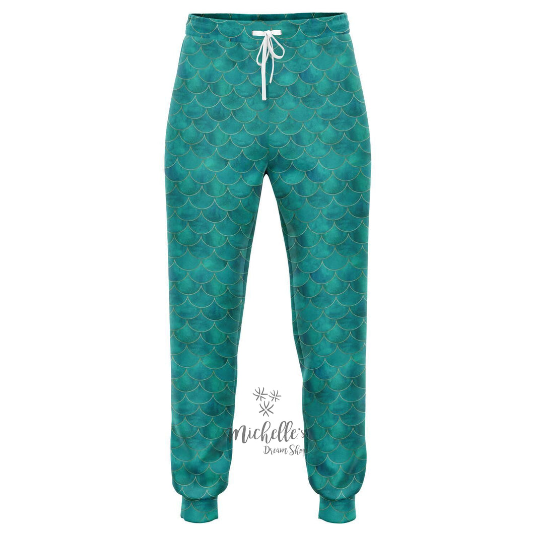 Royal Green Mermaid Scale Premium Joggers