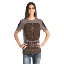 Load image into Gallery viewer, Mandalorian Weapons Are My Religion Designer Tee Shirt Brown (All-Over-Print)