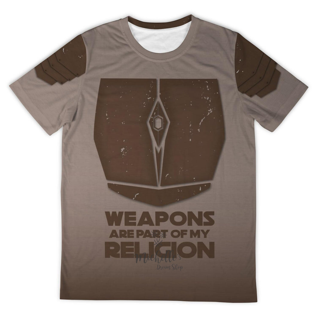 Mandalorian Weapons Are My Religion Designer Tee Shirt Brown (All-Over-Print)