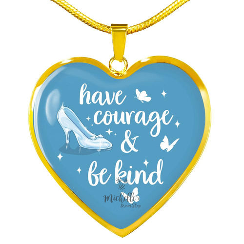 Cinderella Have Courage and Be Kind Color Heart Necklace