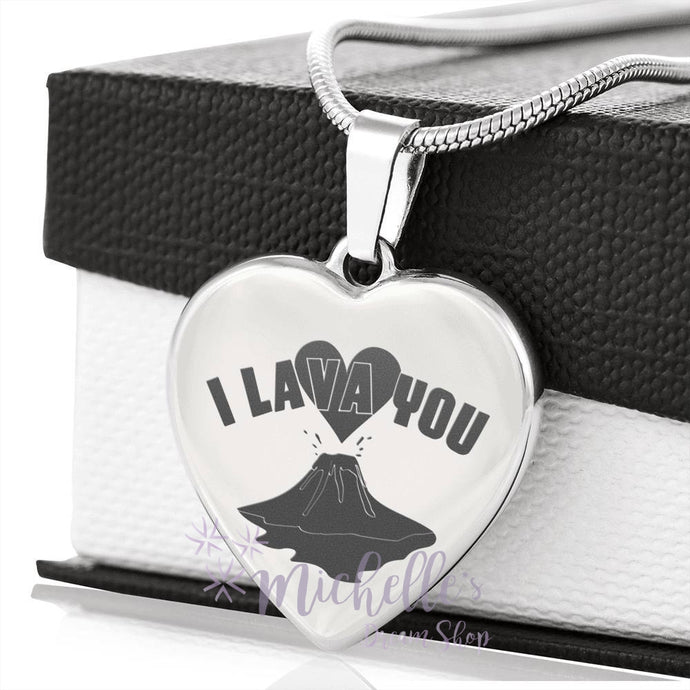 I Lava You Engraved Heart Necklace