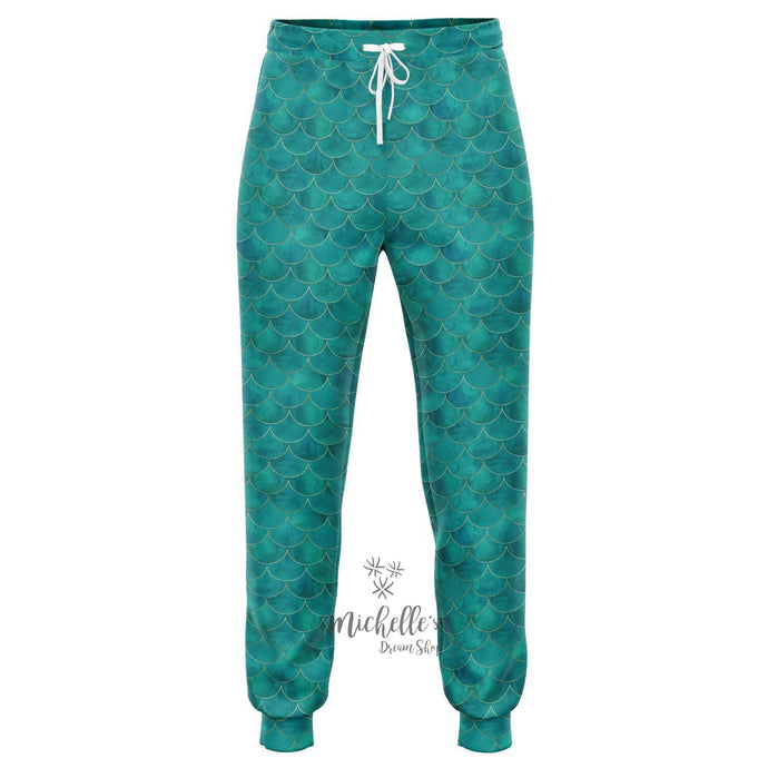 Royal Green Mermaid Scale Athletic Joggers