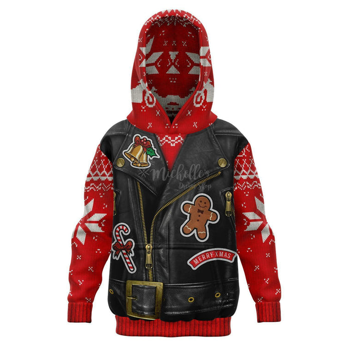 Sons of Santa Motorcycle Jacket Knit Print Kids Athletic Hoodie