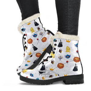 White Beauty and the Beast Comfy Boots