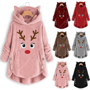 Women Printed Reindeer Long Sleeve Button Christmas Sweater