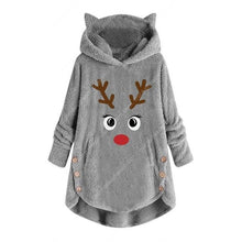 Load image into Gallery viewer, Women Printed Reindeer Long Sleeve Button Christmas Sweater