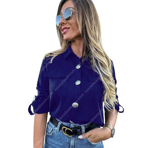 Ladies Military Style Casual Button Blouse With Pockets - More Colors