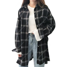 Load image into Gallery viewer, Women's Oversize Long Sleeve Lapel Plaid Shirt
