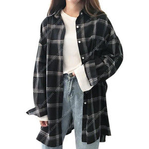 Women's Oversize Long Sleeve Lapel Plaid Shirt