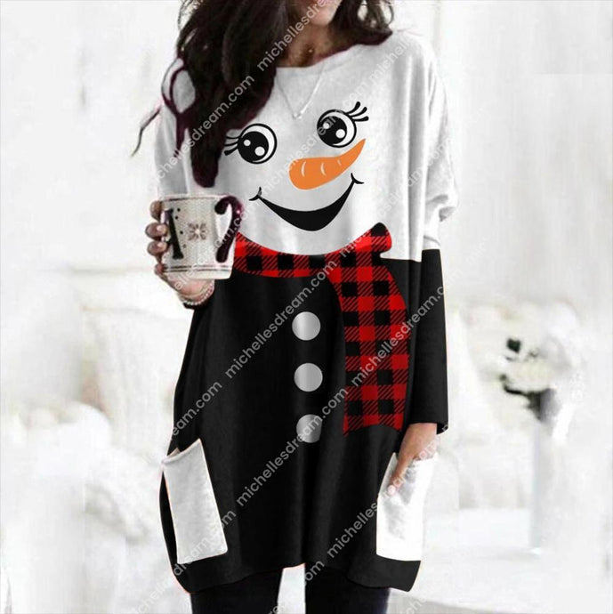 Cute Women Long Sleeve Snowman Christmas Print Top 6 different choices-WITH POCKETS