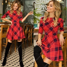 Load image into Gallery viewer, 2020 Christmas Red Plaid 3/4 Sleeve Dress