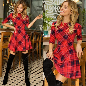 2020 Christmas Red Plaid 3/4 Sleeve Dress