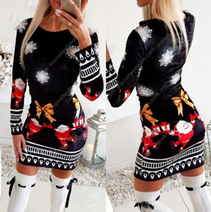 Long Sleeve Christmas Bodycon Dress Sleeve